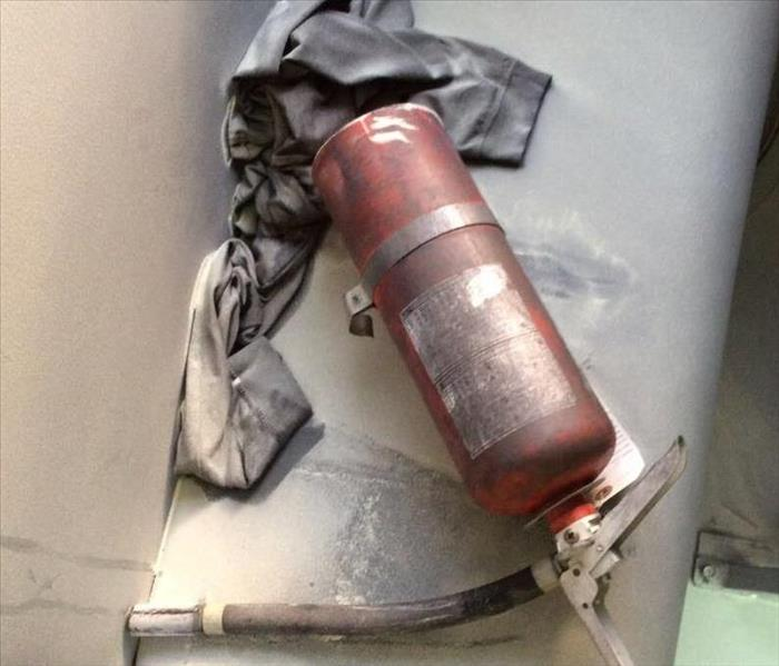 What happens when a fire extinguisher goes off?