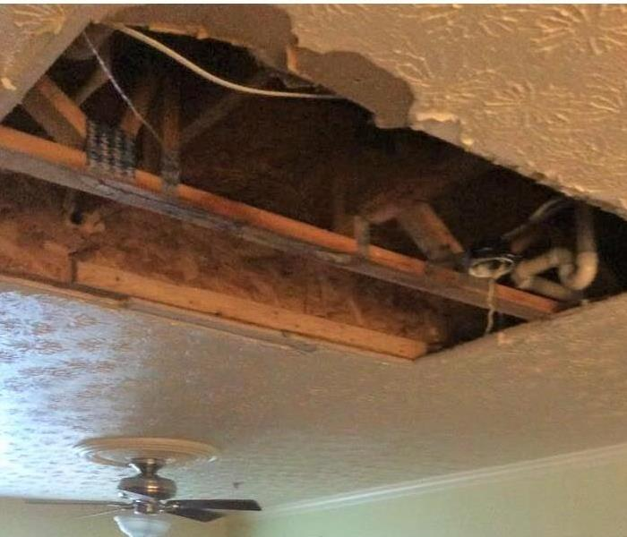 water damage on living room ceiling
